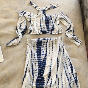 Other - White and blue two piece set